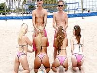 Bikini Beach Volleyball Blowjob Party