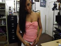 Hot Ebony chick comes in looking for golf clubs gets hammered