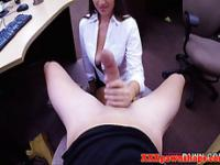 Real pawnshop busty amateur tugging on cock
