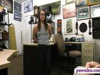 Cute amateur in glasses gets her pussy pounded by pawn man