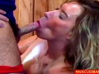 Oiled up sport Milf gets giant clit sucked
