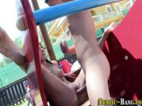 Busty ho fingered in park