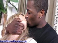 Blonde gags on black cock