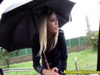 Stranded hungarian teen stewardess in uniform
