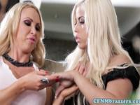 Busty femdom Nikki Benz and pal play with guy