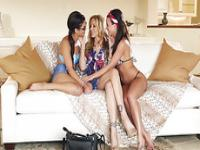 Hot lesbian Blair Summers Julia Ann amd Rahyndee James in lesbian sex
