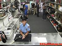 Latina pawnshop amateur in uniform shows big booty