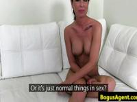 Busty amateur riding on cock at casting