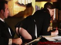 Seducing office worker in stockings