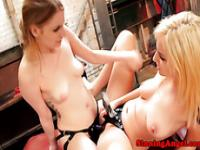 Strapon lezdom lesbos in pegging session
