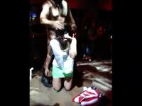 The birthday girl gropes male stripper during show at Club