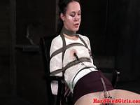 Crotch rope bdsm session with lezzie dominant