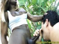 Ebony shemale facialized and giving facial`