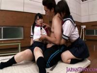 Tiny asian schoolgirl swallows old guys jizz