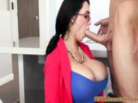 Busty milf femdom in spex sucks before fucking sub
