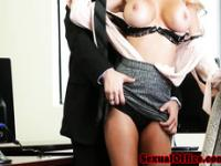 Busty deepthroat secretary making boss happy