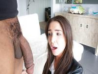 Giselle wraps her hands around the massibe black dick and sucks it deep