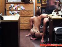 Busty tattooed amateur fucked in pawnshop