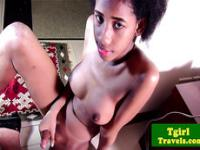Ebony thai ladyboy Look Me wanks her big cock