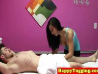 Bigtit asian masseur in leggings sucking cock