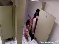 Housewife loves big facial in restaurant restroom