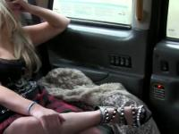 Busty British blonde bangs in fake taxi while parked in public