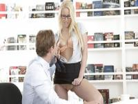 Horny babe secretary Vanessa Cage give a warm blowjob to her boss