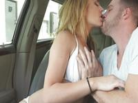 Squeezing large tits of a hot chick and fucks her hard at the backseat