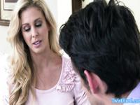 Cherie Deville facialized after riding client cock