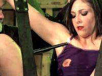 Bound with spread legs sub gets waxed