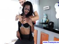 Ebony shemale sucked off by white male