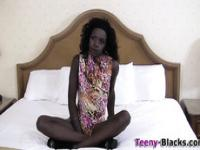 Skinny black teen creamed