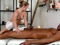 Oiled dude fucks his masseuse