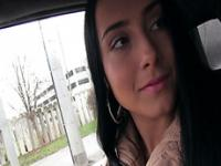 Attractive and brunette Anna Rose gets a free ride from a stranger