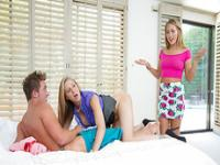 Stepmom Julia is passionate in threesome sex with teen Carter