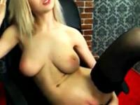 Blonde with nice boobies masturbation on chair