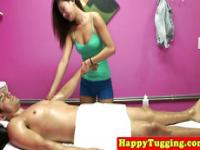 Oriental masseuse wanks and sucks client