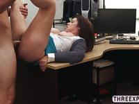 Huge tits MILF gives titty fucks and gets pussy slammed in the shop