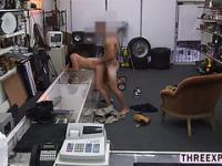 Spunky college amateur dances in the shop and gets pussy reamed by large cock