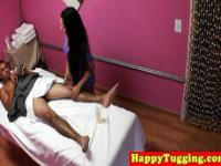 Real asian masseuse tugging her client