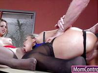 Teen and milf anal fucked on office desk