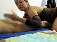 Milf with big boobs sucks the cock