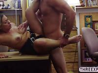 Sexy brunette Police woman gets banged in various position