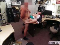 Brunette MILF gets holes fucked by a large prick inside the shop