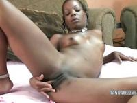 Horny ebony wife Anastasia is using her fingers to fuck her tight black pussy