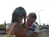 Kinky girl performs public flashing and fucks