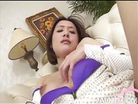 Horny Emi Orihara in polka dots fondles her nice tits and toys her perfect pussy until she cums.