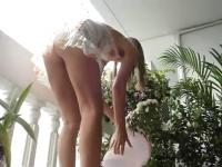 Hidden voyeur web camera allies gal with no pants filmed