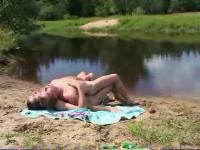 Naked gay sex fun at a pond