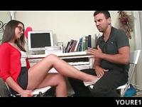 Teen in glasses bent over the desk and fucked